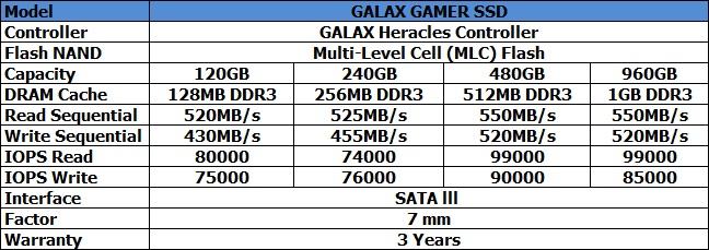 GALAX GAMER SPEC