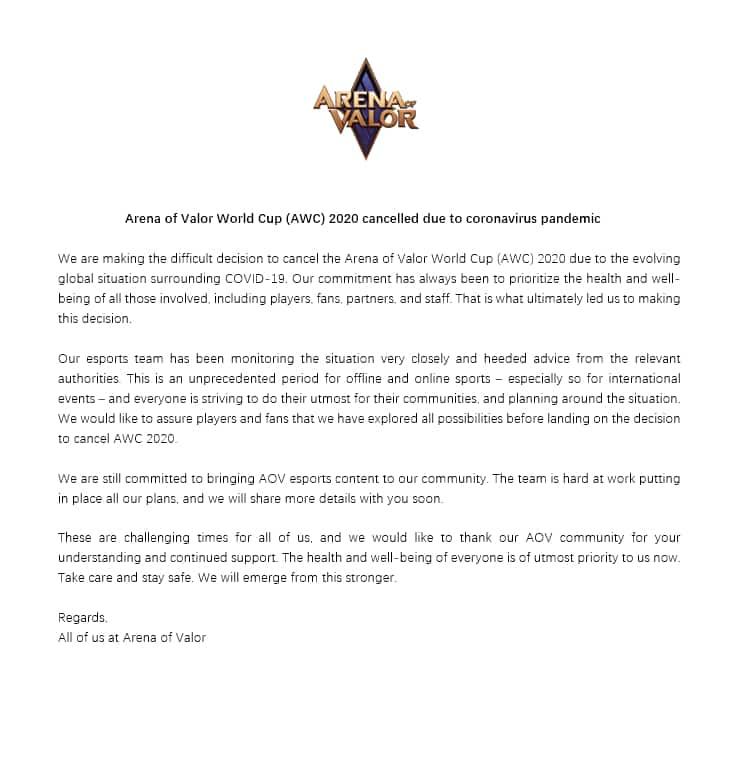 RoV ประกาศยกเลิกงาน AWC